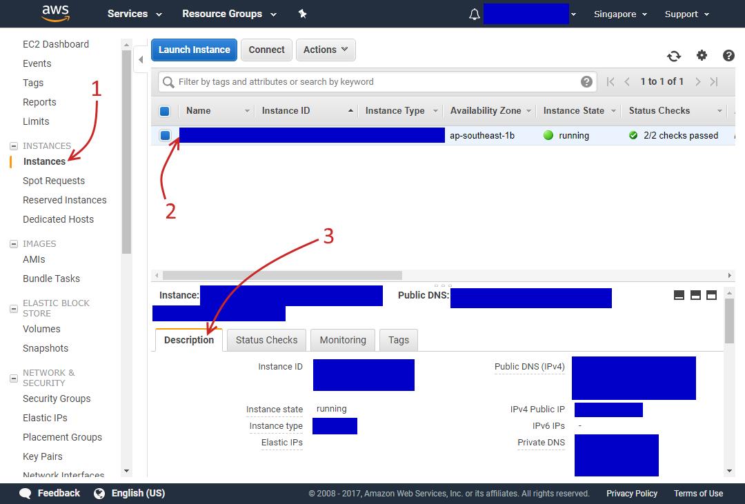 Trang Instances đầy đủ nằm trong trang quản lý dịch vụ EC2