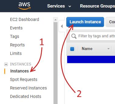 Ấn mở mục Instances, rồi ấn nút Launch Instance.