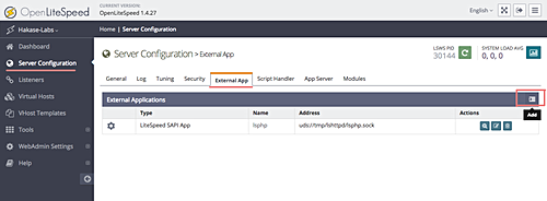 Trang admin của OpenLiteSpeed. Bổ sung phiên bản PHP. Nguồn: HowToForge