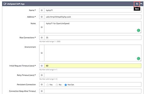 Trang admin của OpenLiteSpeed. Điều chỉnh LSPHP. Nguồn: HowToForge