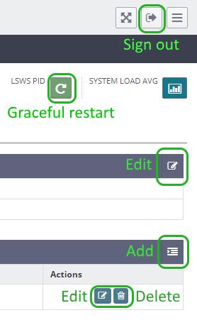 Các nút thường gặp trong trang thiết lập của OpenLiteSpeed