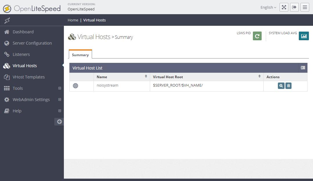 Trang thiết lập virtual host. Bảng liệt kê virtual host.