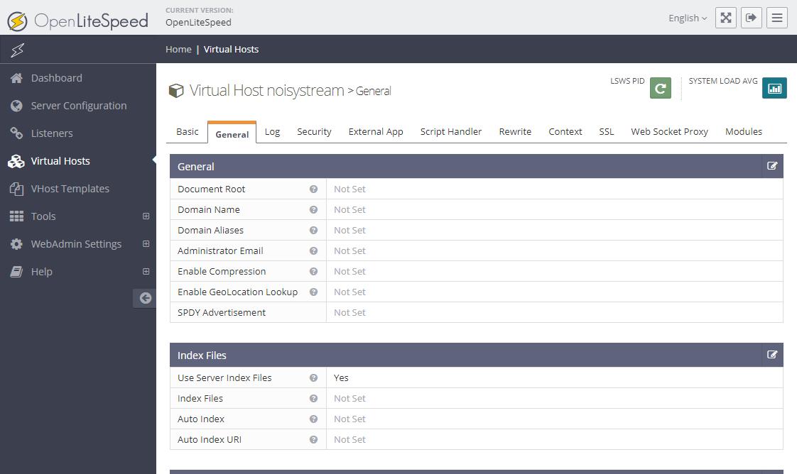 Trang thiết lập virtual host. Tab General (chung).