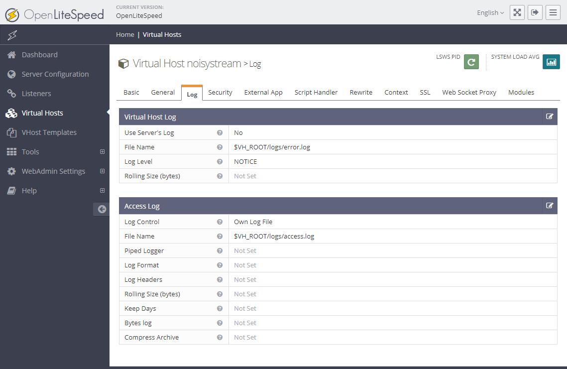 Trang thiết lập virtual host. Tab Logs.