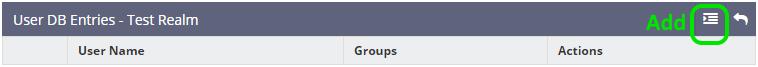 Bước 6 - Chuyển sang bảng User DB Entries. Ấn Add để bổ sung username và mật khẩu.