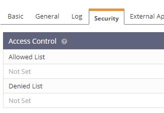Bảng Access Control thuộc tab Security trong phần cài đặt virtual host của OpenLiteSpeed